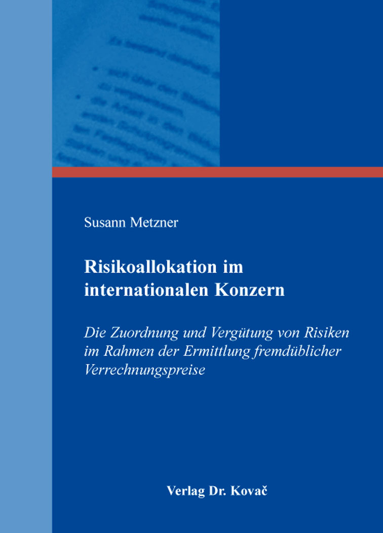 Cover: Risikoallokation im internationalen Konzern