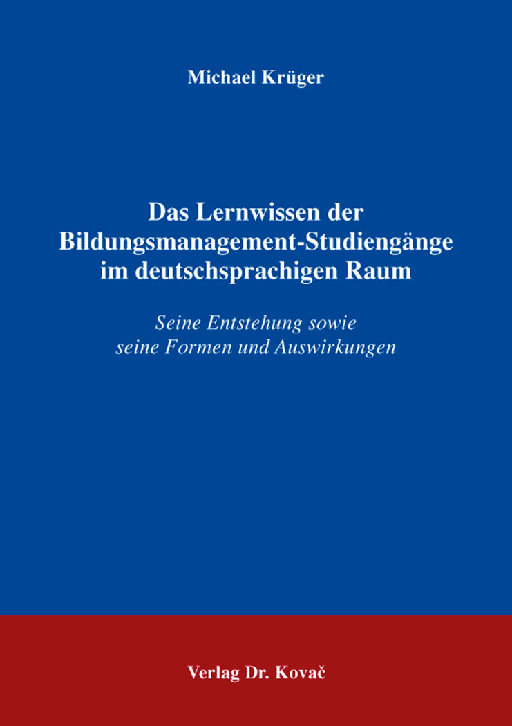 Cover: Das Lernwissen der Bildungsmanagement-Studiengänge im deutschsprachigen Raum