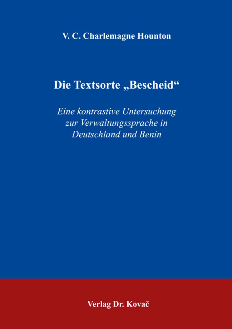 """Cover: Die Textsorte """"Bescheid"""""""