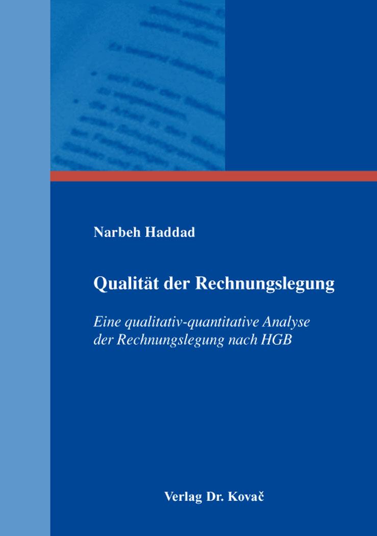 Cover: Qualität der Rechnungslegung