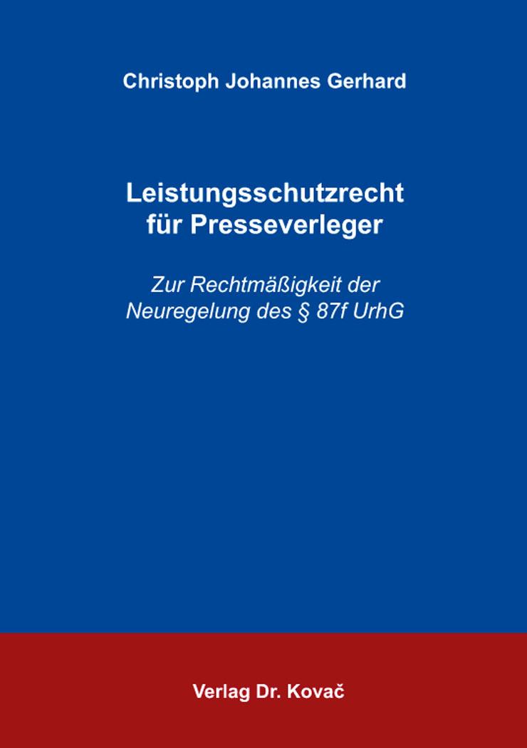 Cover: Leistungsschutzrecht für Presseverleger