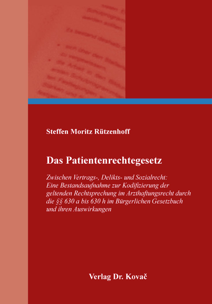 Cover: Das Patientenrechtegesetz