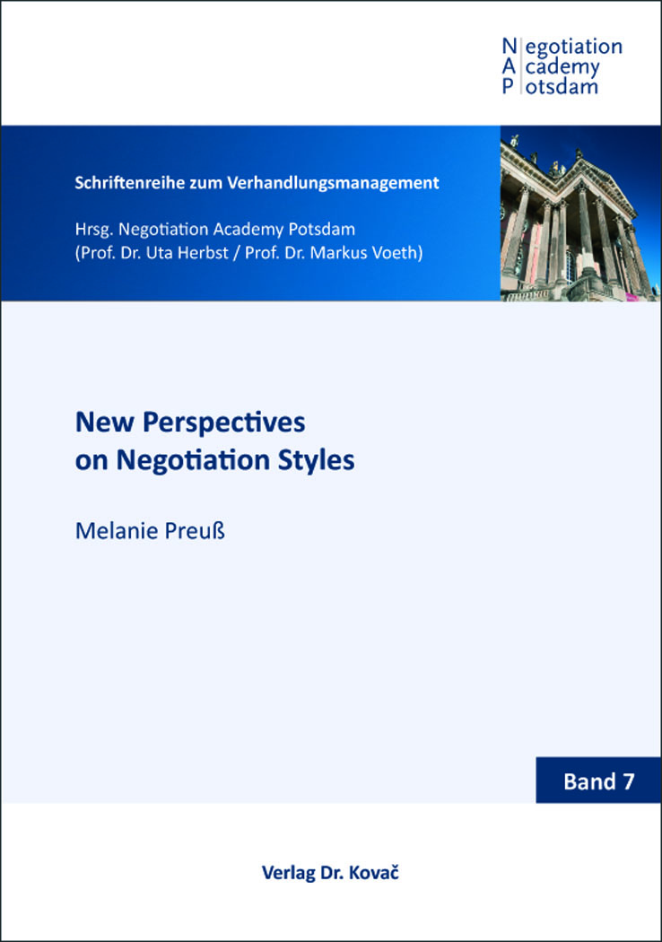 Cover: New Perspectives on Negotiation Styles