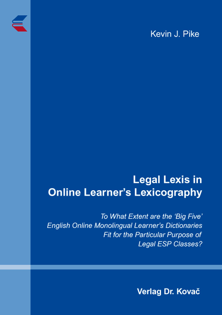 Cover: Legal Lexis in Online Learner's Lexicography