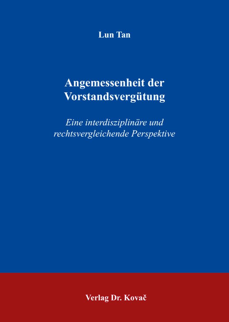 Cover: Angemessenheit der Vorstandsvergütung