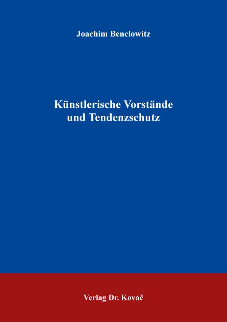Cover: Künstlerische Vorstände und Tendenzschutz