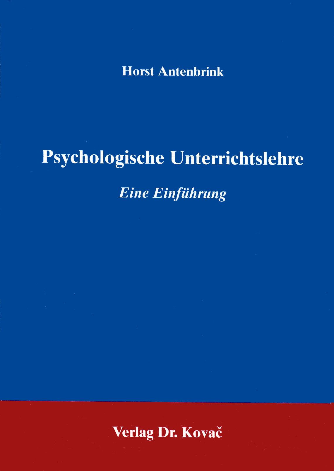 Cover: Psychologische Unterrichtslehre