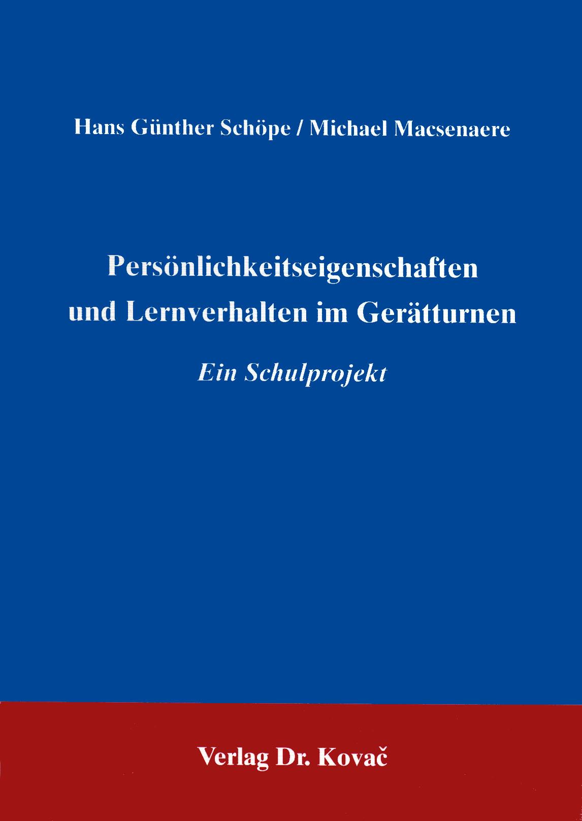 Cover: Persönlickeitseigenschaften und Lernverhalten im Gerätturnen