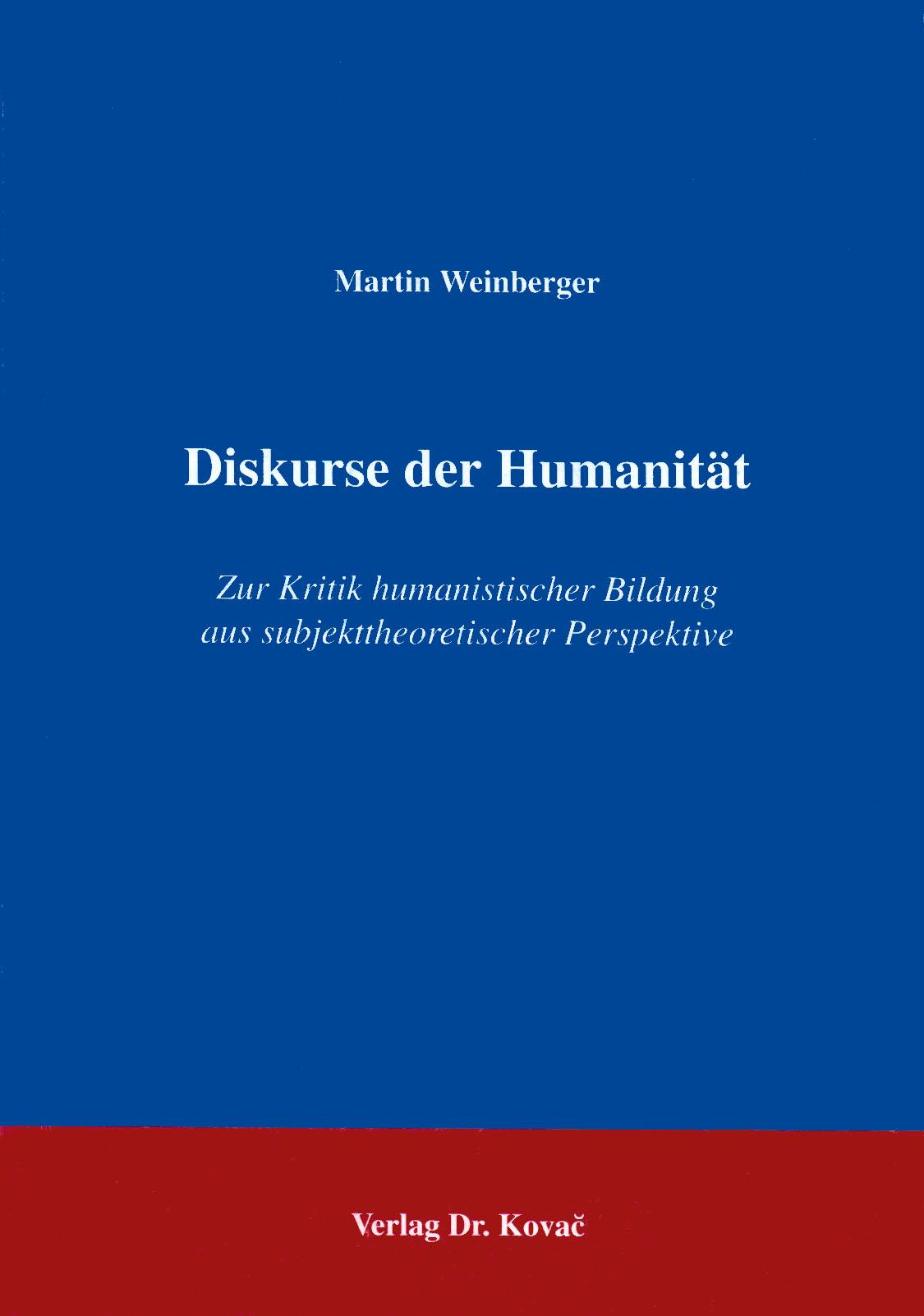 Cover: Diskurse der Humanität