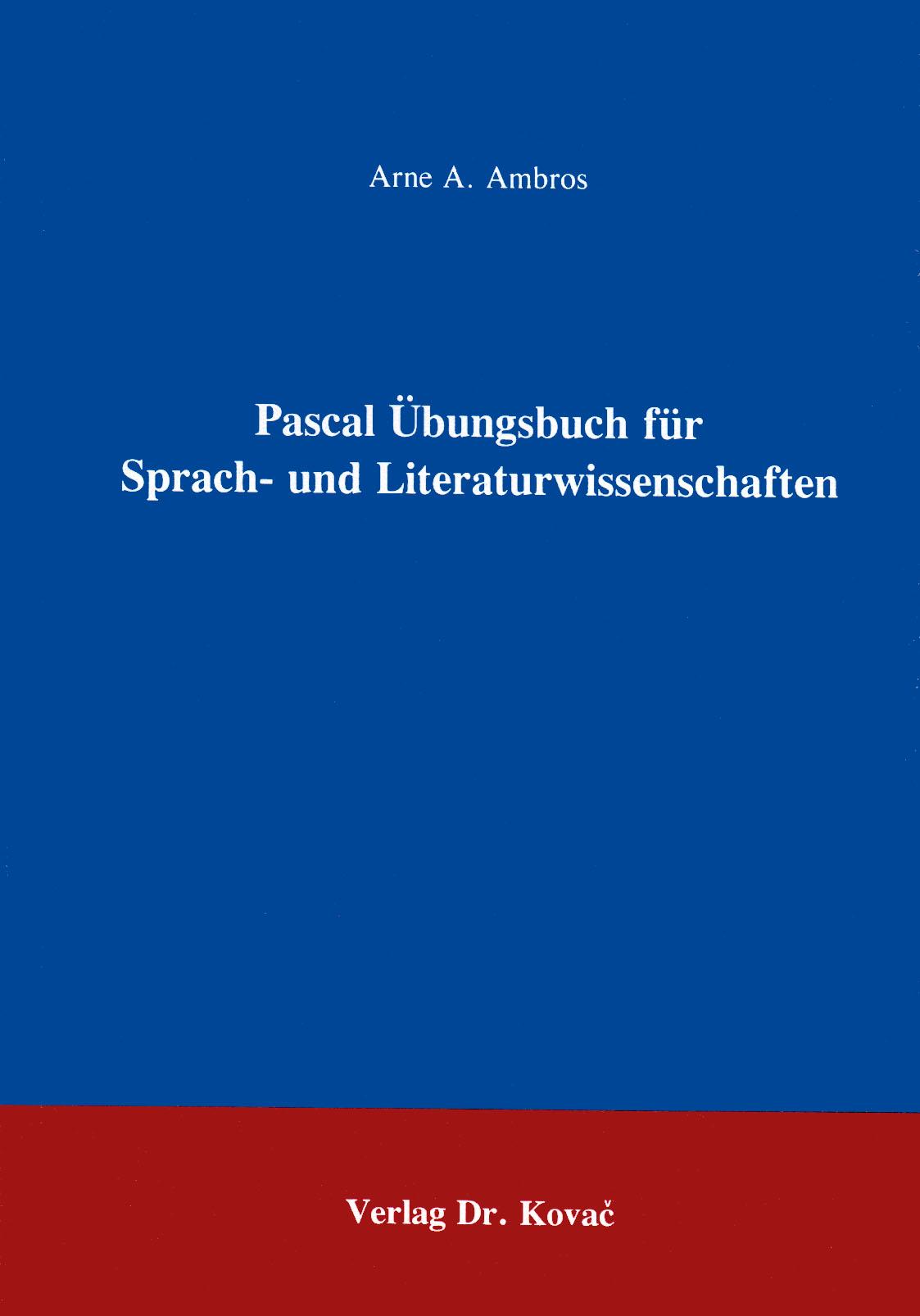 Cover: Pascal Übungsbuch für Sprach- und Literaturwissenschaftler