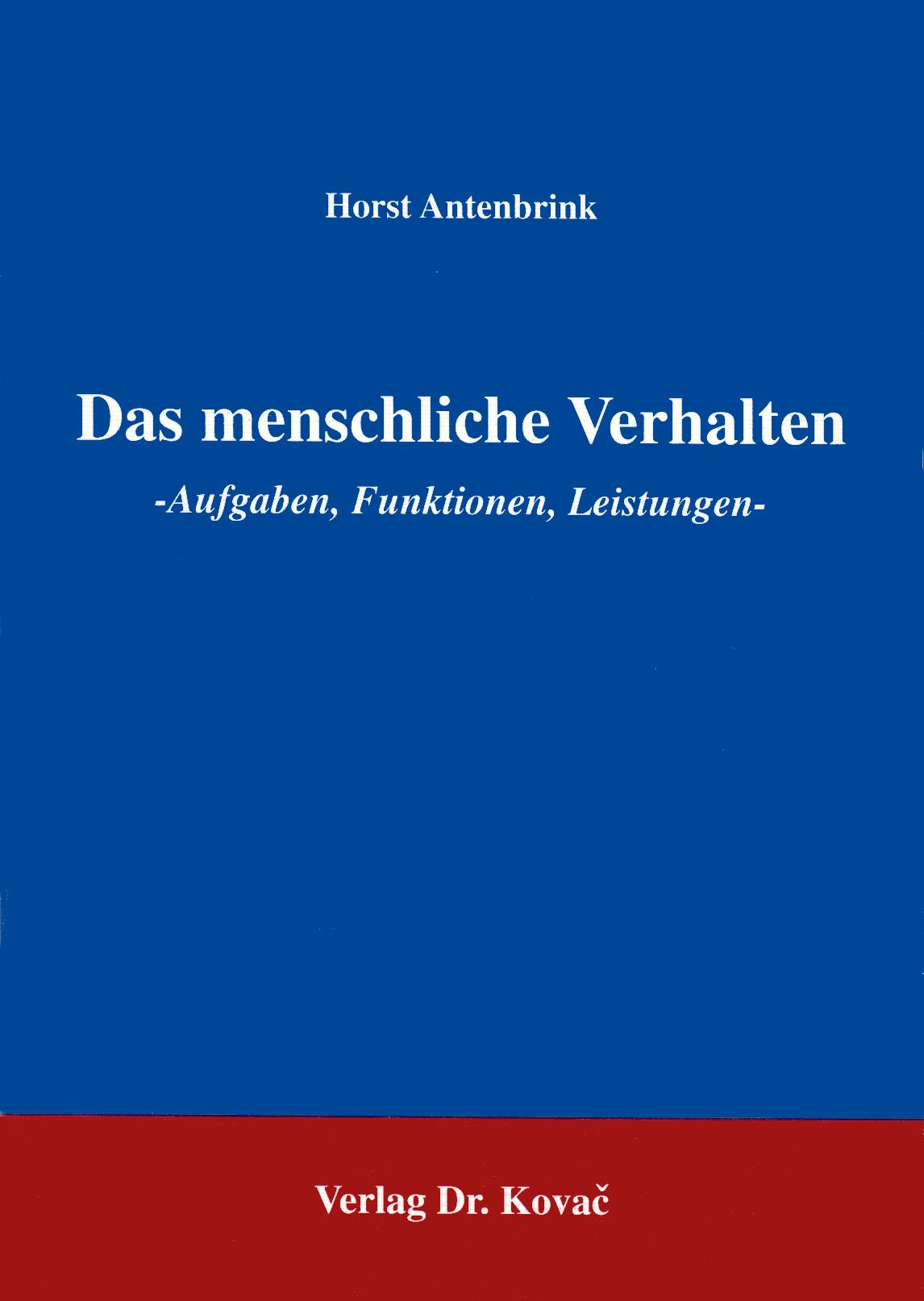Cover: Das menschliche Verhalten