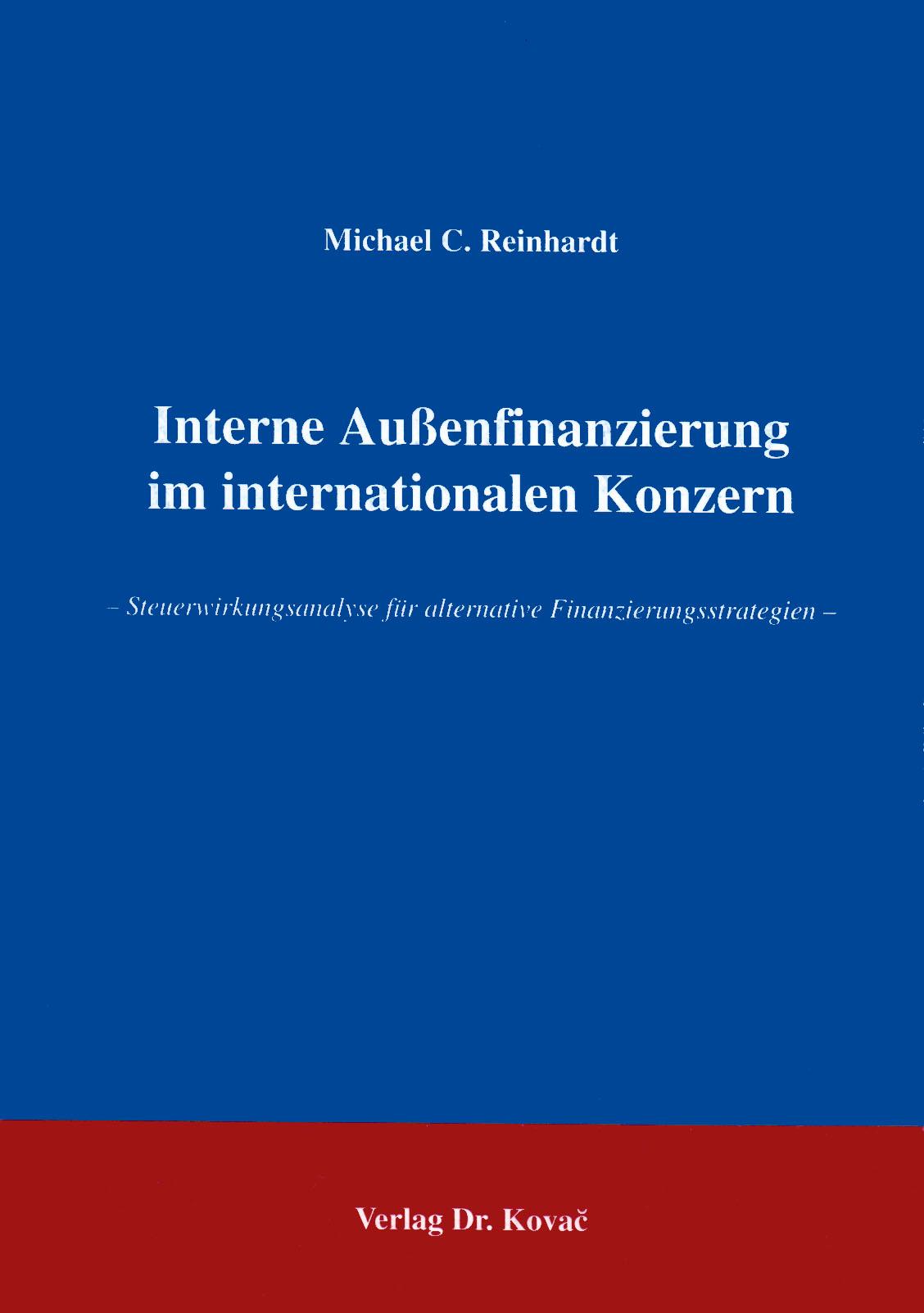 Cover: Interne Außenfinanzierung im internationalen Konzern