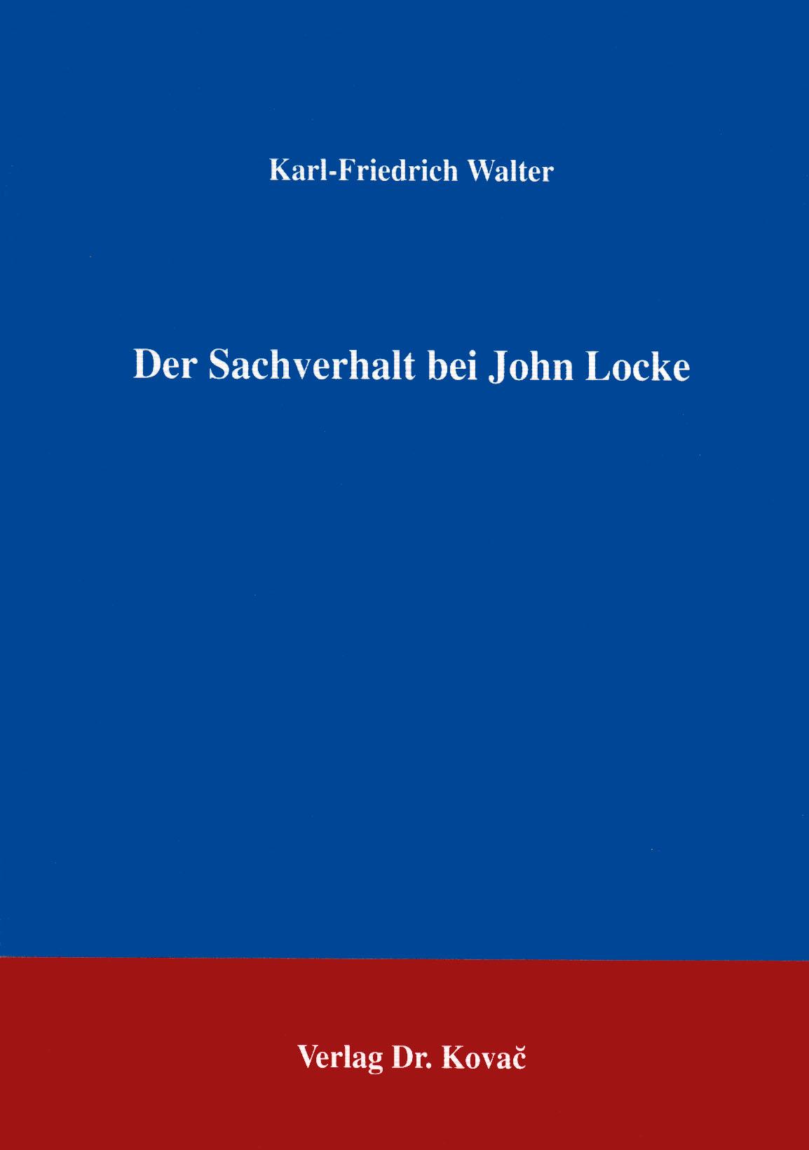 Cover: Der Sachverhalt bei John Locke