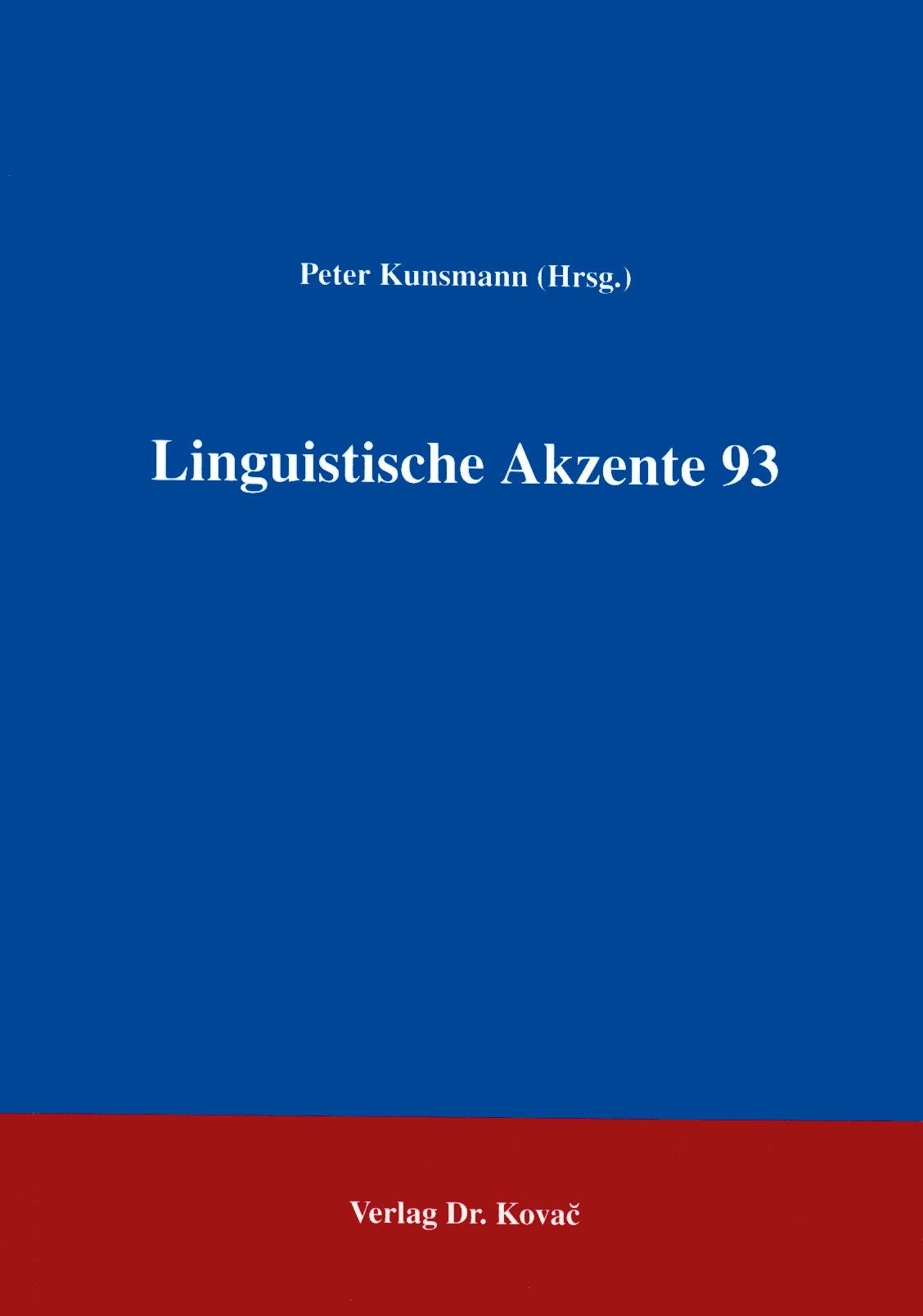 Cover: Linguistische Akzente 93