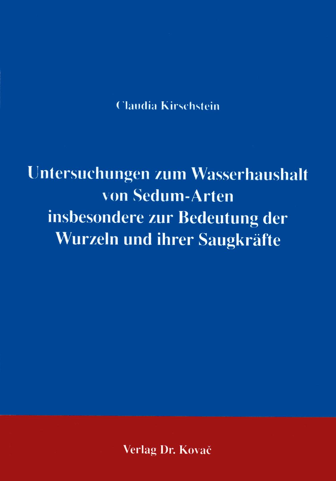 Cover: Untersuchungen zum Wasserhaushalt von Sedum-Arten