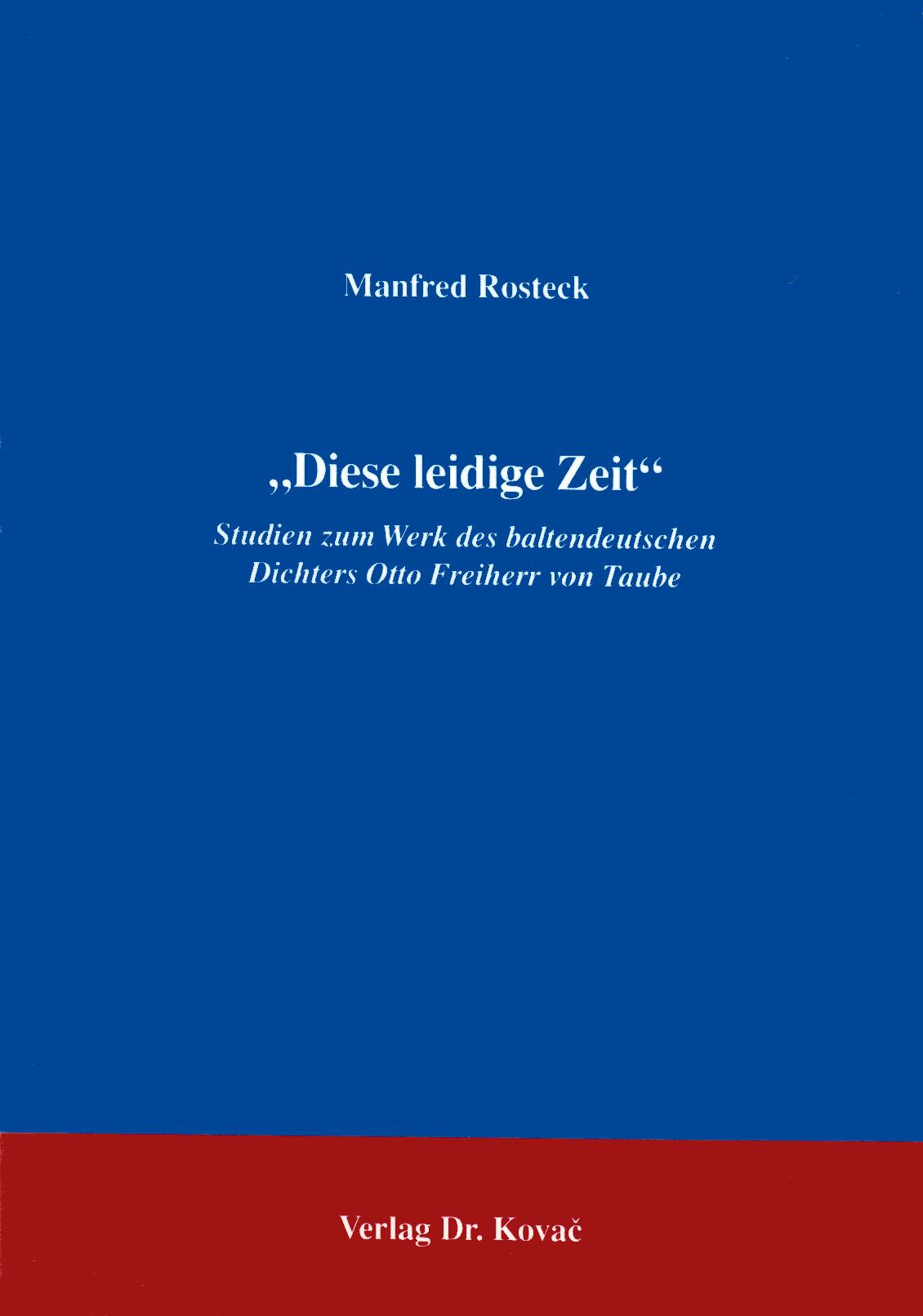 Cover: Diese leidige Zeit