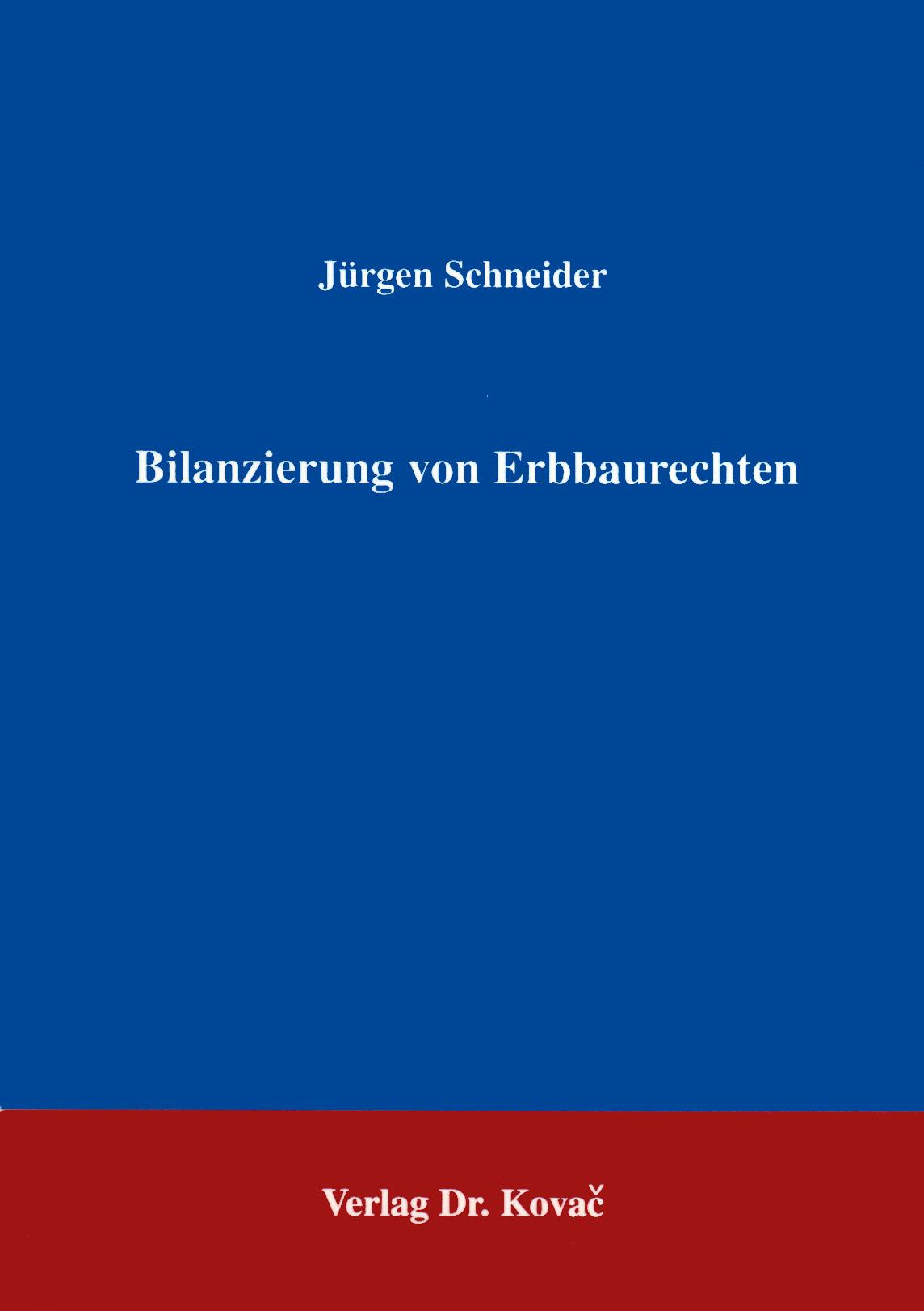 Cover: Bilanzierung von Erbbaurechten