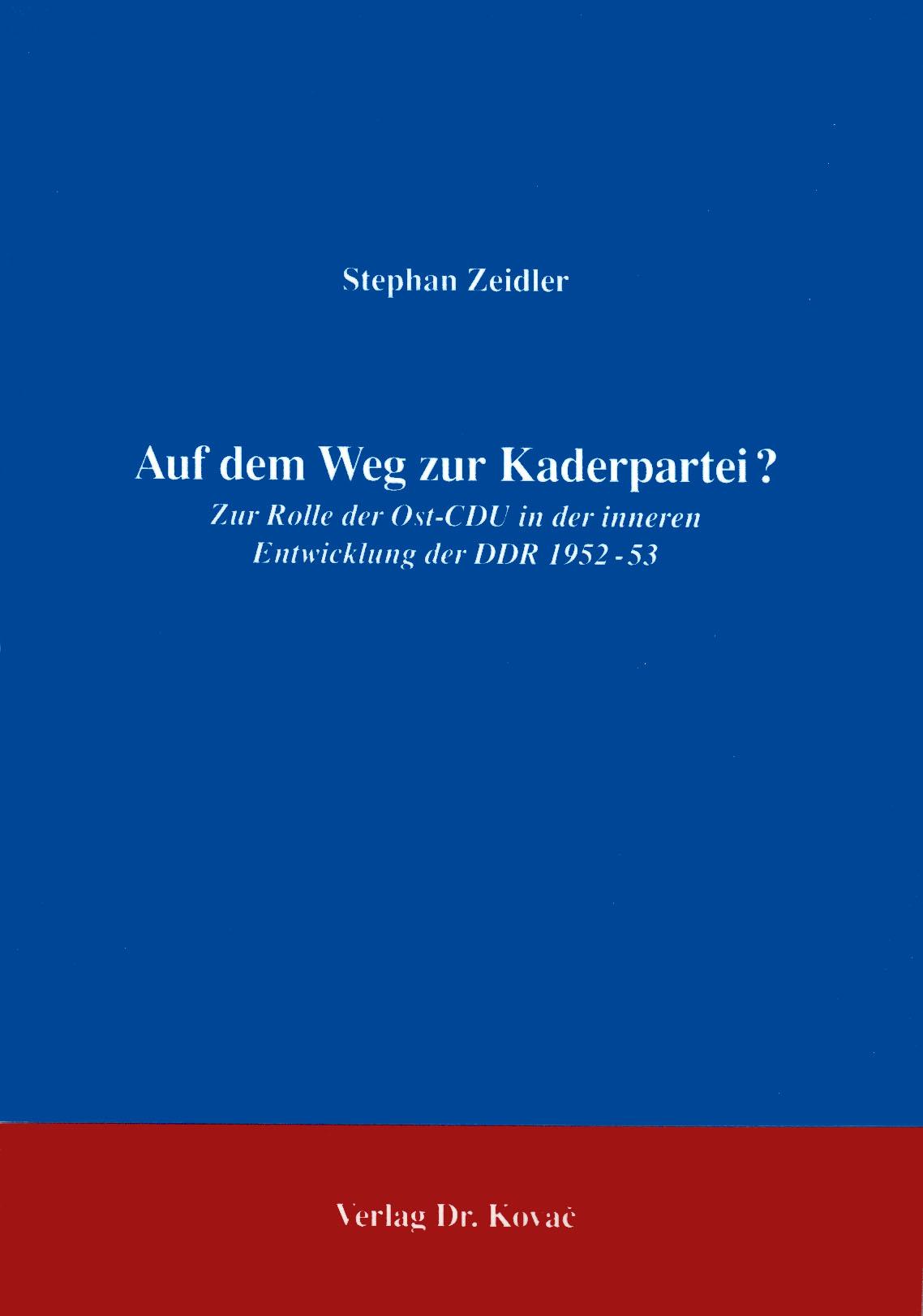 Cover: Auf dem Weg zur Kaderpartei?
