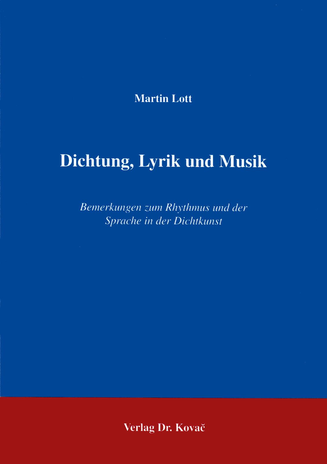 Cover: Dichtung, Lyrik und Musik