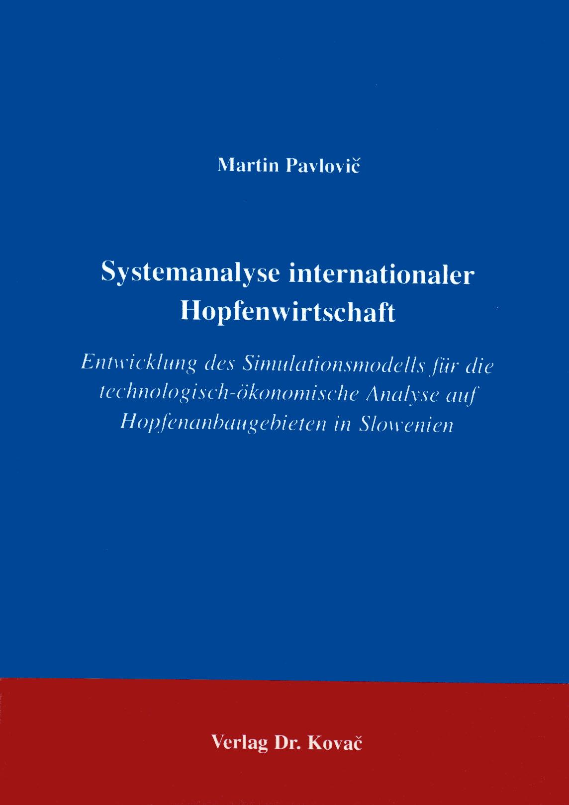 Cover: Systemanalyse internationaler Hopfenwirtschaft