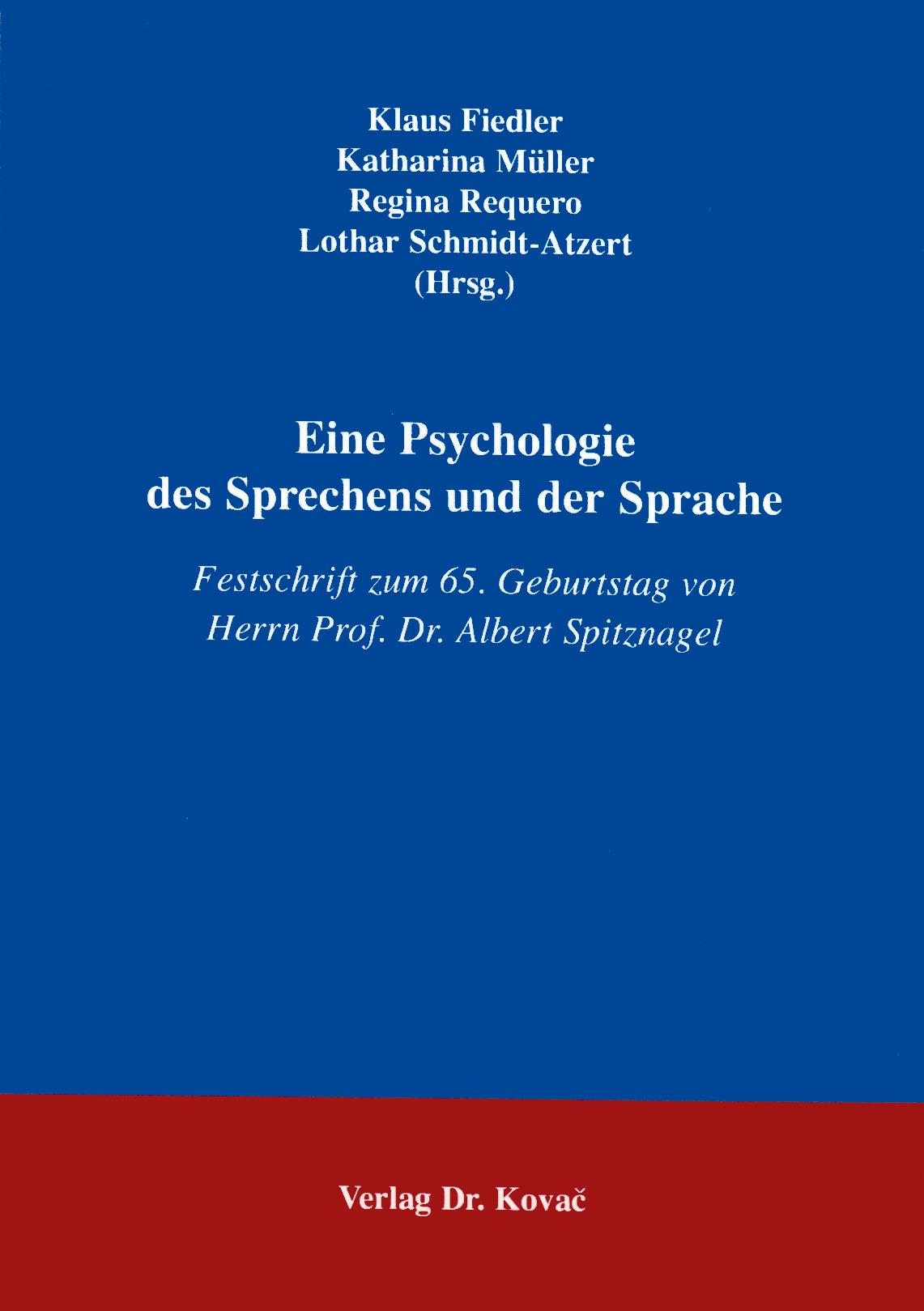 Cover: Eine Psychologie des Sprechens und der Sprache