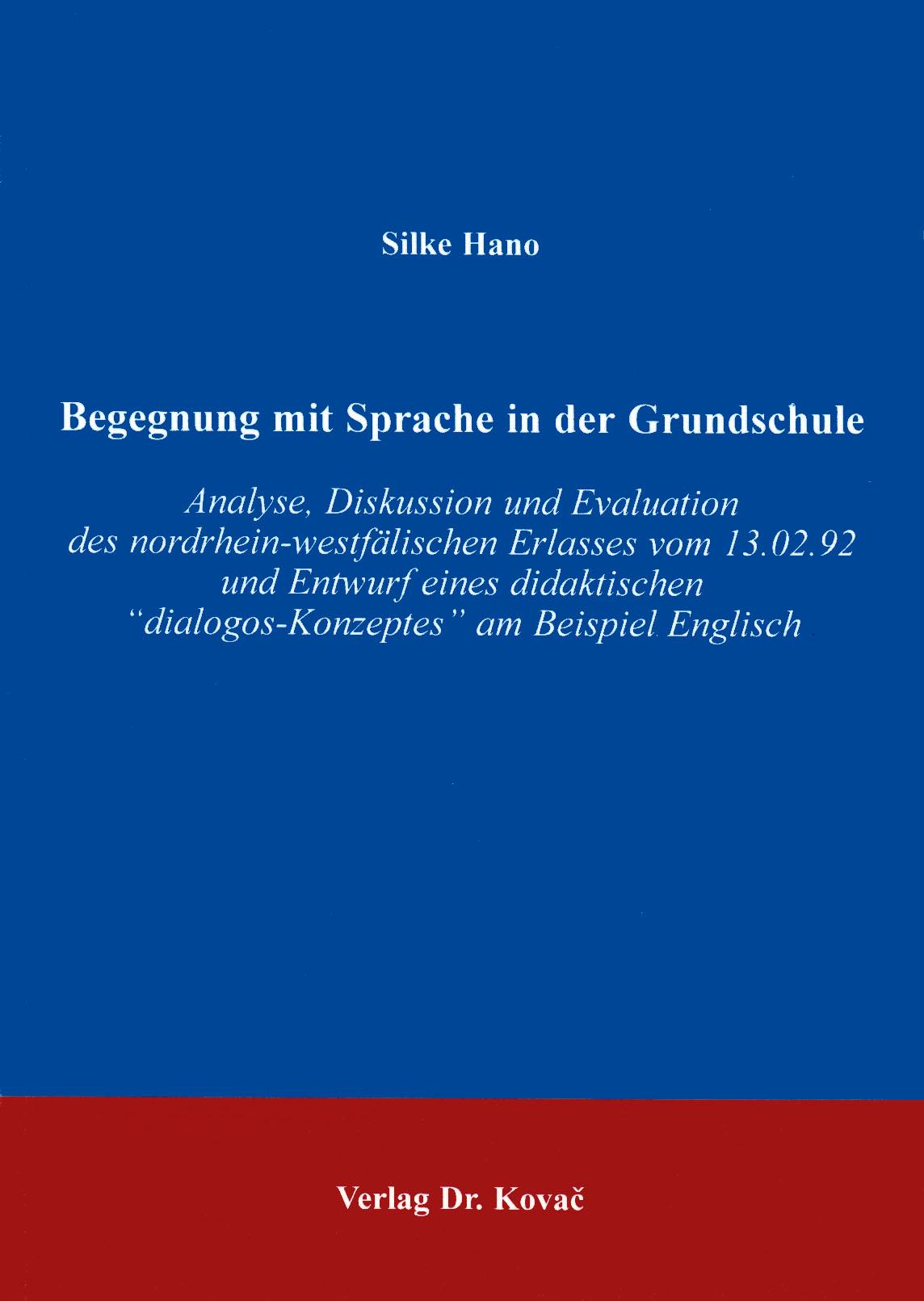 Cover: Begegnung mit Sprache in der Grundschule