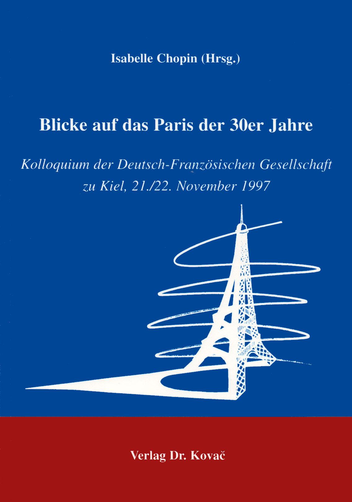 Cover: Blick auf das Paris der 30er Jahre