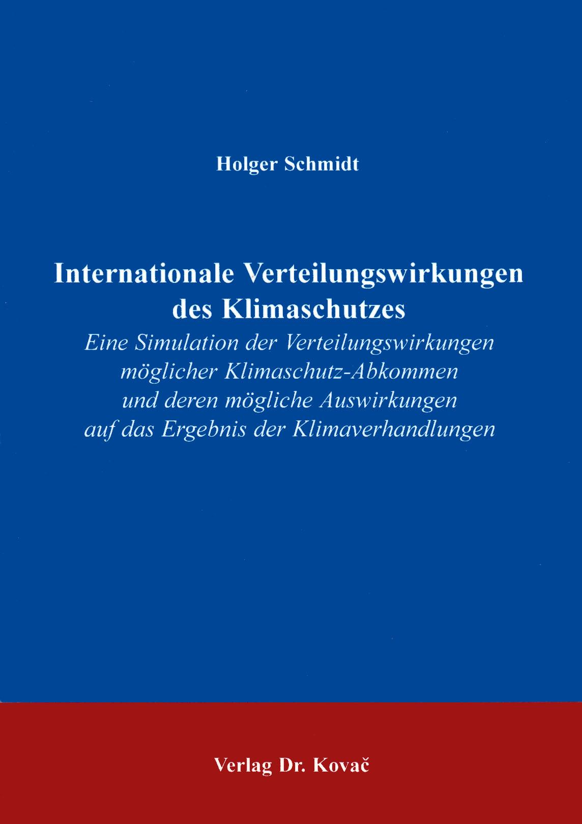 Cover: Internationale Verteilungswirkungen des Klimaschutzes