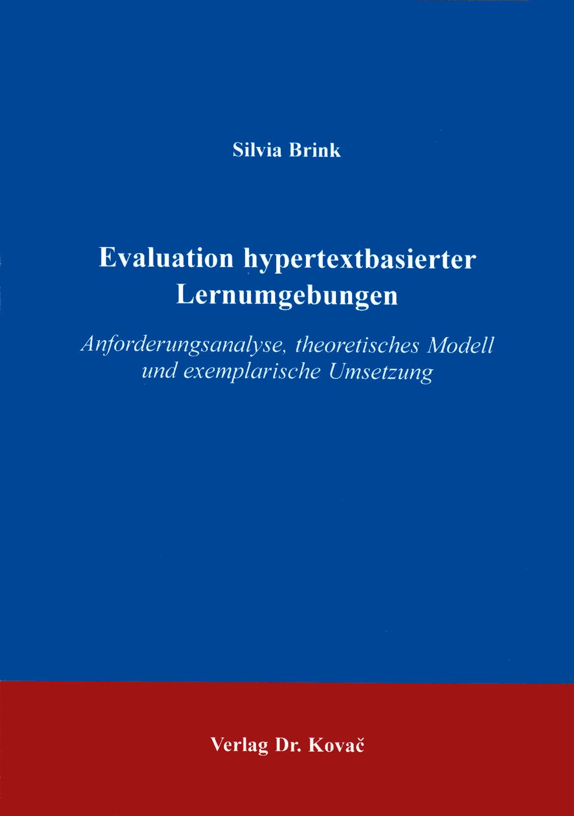 Cover: Evaluation hypertextbasierter Lernumgebungen