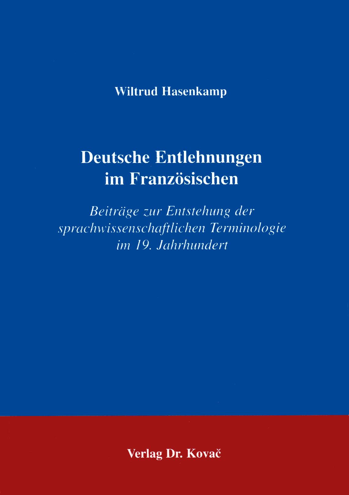 Cover: Deutsche Entlehnungen im Französischen