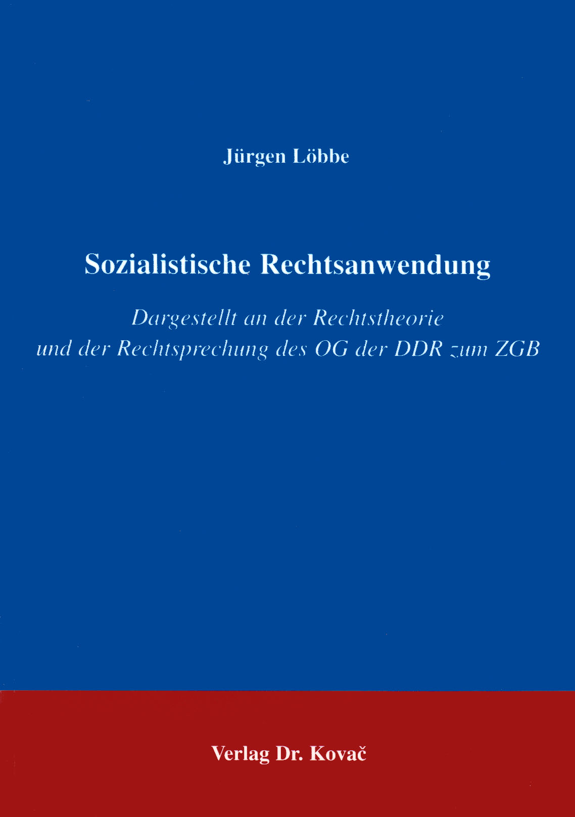 Cover: Sozialistische Rechtsanwendung