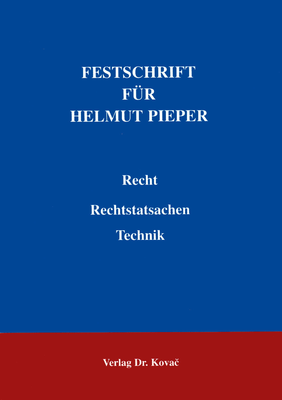 Cover: Festschrift für Helmut Pieper