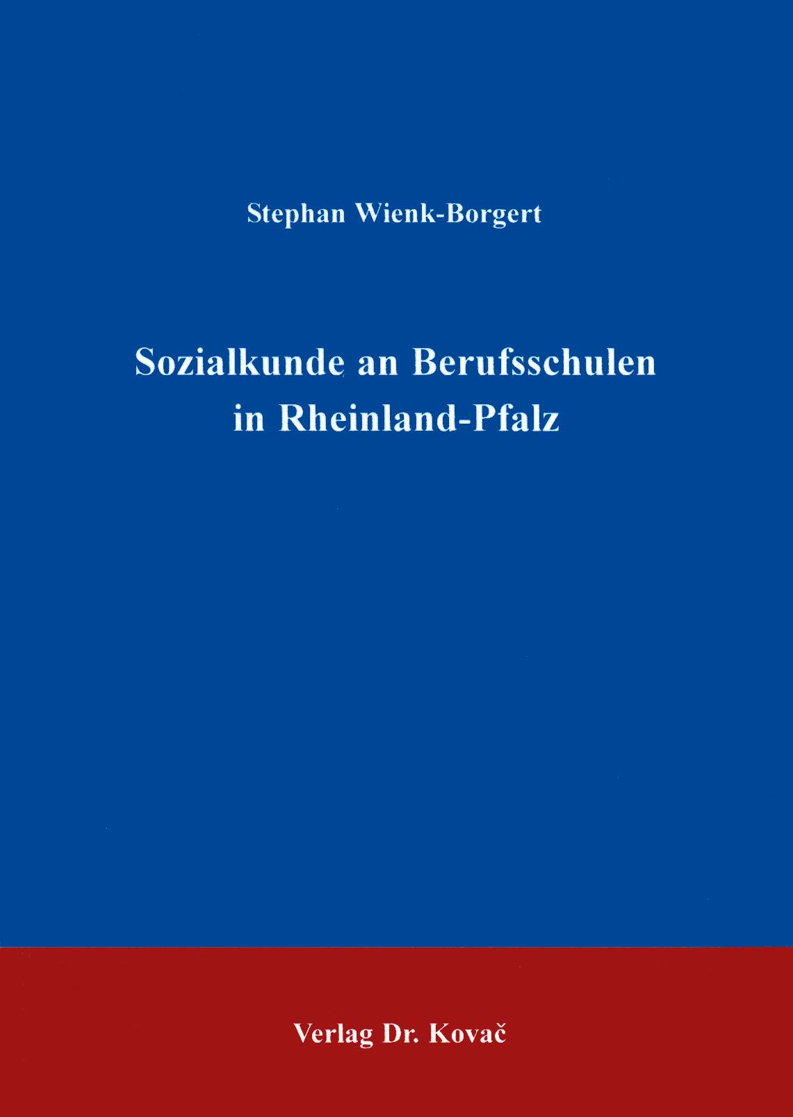 Cover: Sozialkunde an Berufsschulen in Rheinland-Pfalz