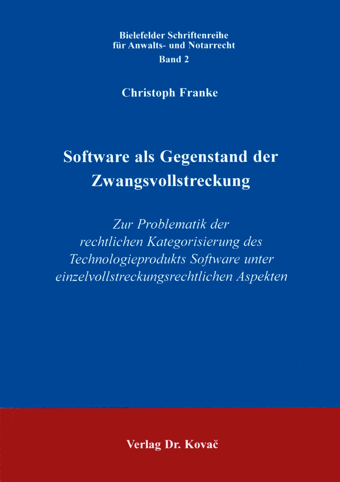 Cover: Software als Gegenstand der Zwangsvollstreckung