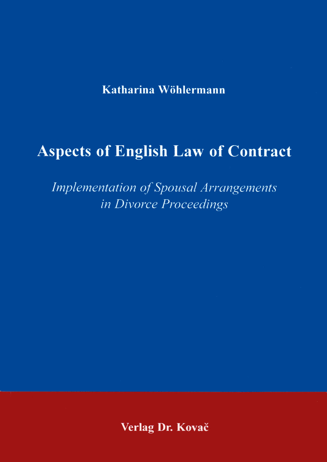 Cover: Aspects of English Law in Contract