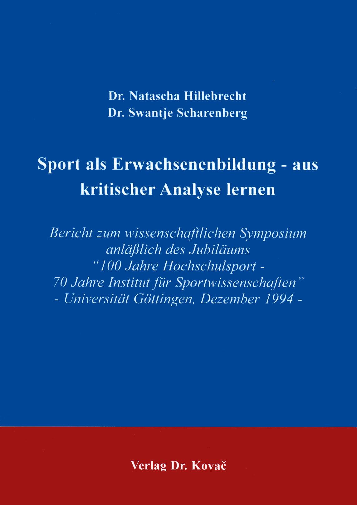 Cover: Sport als Erwachsenenbildung - aus kritischer Analyse lernen