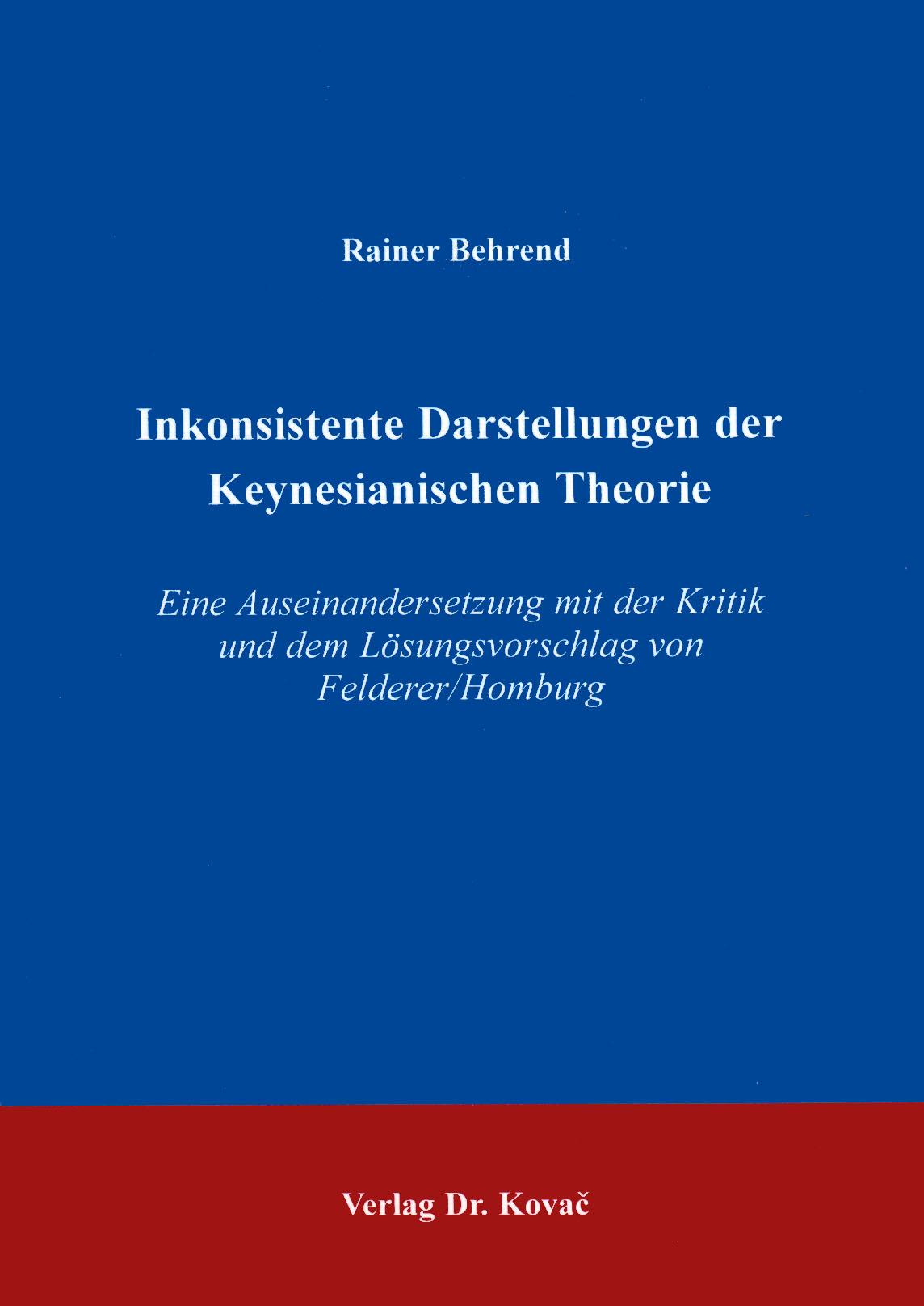 Cover: Inkonsistente Darstellungen der Keynesianischen Theorie