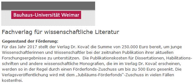 VDK-Förderfonds: Bauhaus-Uni Weimar
