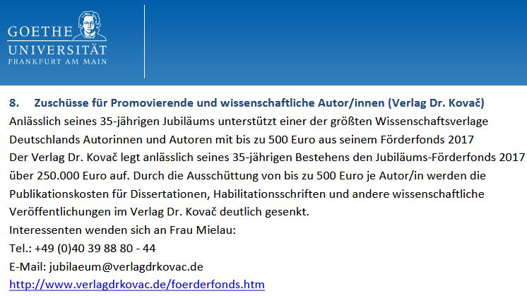 VDK-Förderfonds: Goethe-Universität Frankfurt/Main