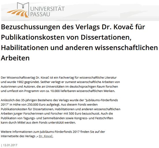 VDK-Förderfonds: Universität Passau
