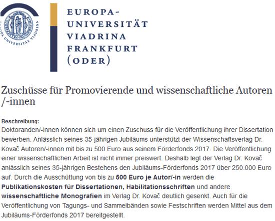 VDK-Förderfonds: Europa-Uni Viadrina