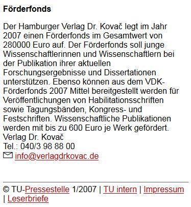 Text TU Berlin intern, Januar 2007